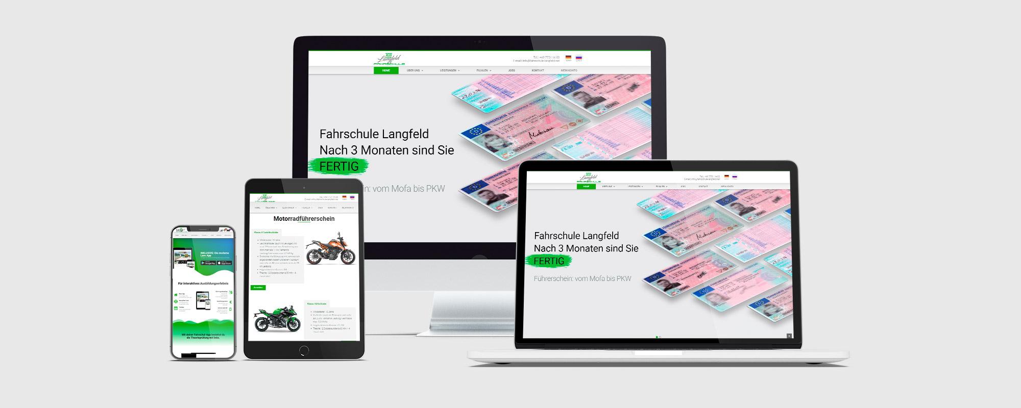 Entwicklung der Webseite für die Fahrschule